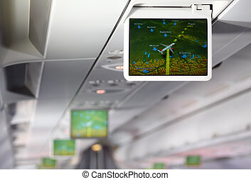 Lcd monitor showing aircraft traffic diagram of Europe...