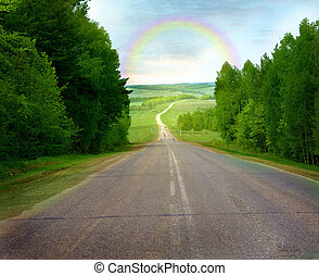 road  - View at the rainbow above the road