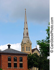 Steeple in Stillwater - Tall church steeple adorned with...