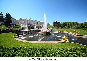"Fountains ""Samson and  Lion"", of Petergof, Saint Petersburg, Russia"