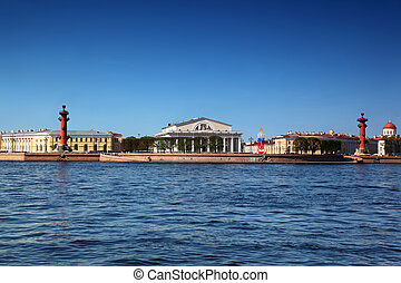 Panorama of Basil Island in St Petersburg, Russia