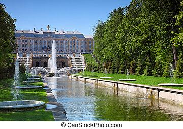 magnífico, cascada, Fuentes, Peterhof, palacio,...