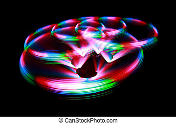 Surface with light painting streaks