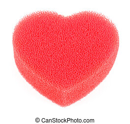 Sponge for shower in form of big red heart isolated on white