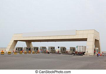 asfalto, check-point, área, grande, Seguridad, puerto,...