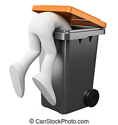 3D person looking for in a bin - 3D person looking for...