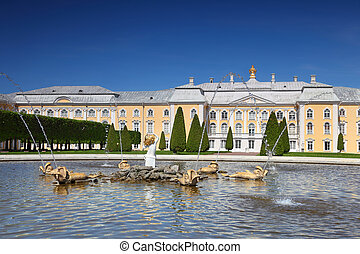 "Grand Palace and fountain ""Oak"" of Peterhof,  Saint-Petersburg, Russia"
