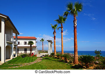 White two-story house with brown roof, green lawn, palm...