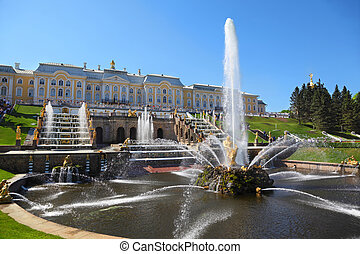 "Fountains ""Samson and  Lion"" and trinity, of Petergof, Saint Petersburg, Russia"
