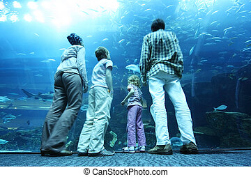 family with boy and girl standing in underwater aquarium tunnel and looking on fishes, view from back, focus on legs