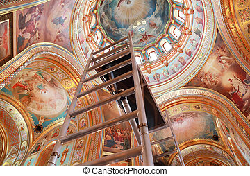 Staircase rising to ceiling of dome inside Cathedral of...