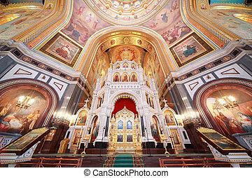 altar, dentro, catedral, Cristo, salvador, moscú,...