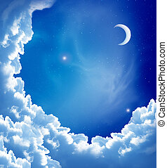 Moon and beautiful clouds - night sky with fantasy beautiful...
