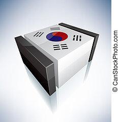 3D flag of Korea