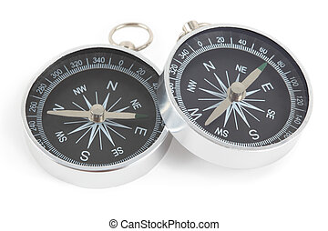 Two silver compasses with black panel isolated on white, one...