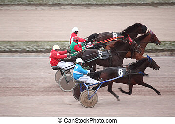 MOSCOW - DECEMBER 6: horse trot racing on Moscow hippodrome...