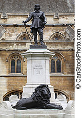 Statue of Oliver Cromwell at Westminster in London. Oliver...