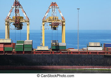big merchant ship in port many big cargos on board of ship