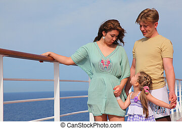 family leisure with children at sea on yacht