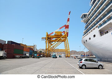 QUABOOS PORT, MUSCAT - APRIL, 13: big cruise ship in port,...