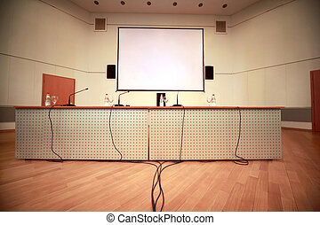 Registration of afloor, walls and table with microphones in...
