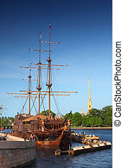 """Russia, Saint-Petersburg. Restaurant """"Flying Dutchman"""" and Peter and Paul Fortress"""
