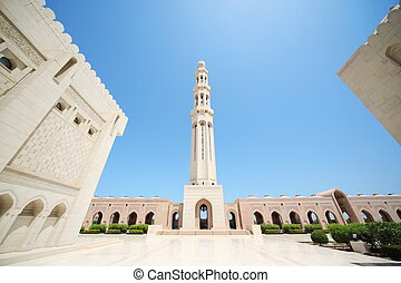 beautiful buildings inside Grand Mosque in Oman. wide angle.