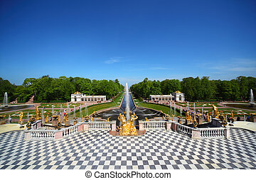 Grand Cascade Fountains At Peterhof Palace garden, St....