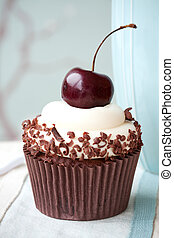 Black forest cupcake - Cupcake decorated with a chocolate...
