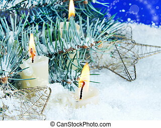 Christmas Still Life with Candles in Snow