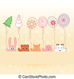 Animals with New Year\'s balloons
