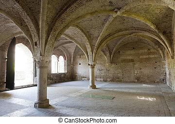 San Galgano Siena, Tuscany, Italy, the famous open basilica,...