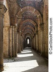 San Galgano Siena, Tuscany, Italy, the famous open basilica...