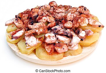 Galician octopus on a base of sliced u200Bu200Bboiled...
