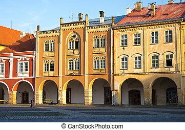 Apartment houses on town square in Jicin, Czech Repubilc