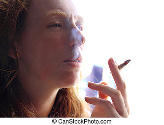 female smoker woman with smoke cigarette - female smoker...