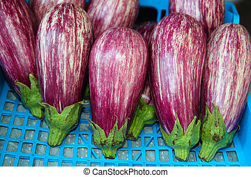 eggplant vegetables in a row on market