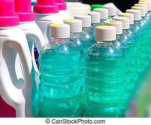 limpieza, doméstico, químico, botellas, fila
