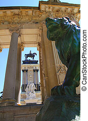 Alfonso XII monument Madrid in Retiro park with lion