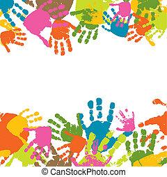 impressões, mãos, criança, vetorial,...