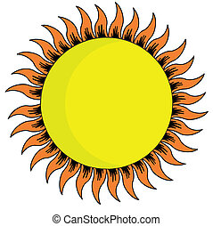 yellow sun on white background