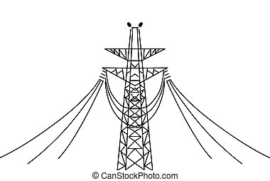 electric pole on white background