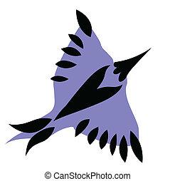 blue bird on white background