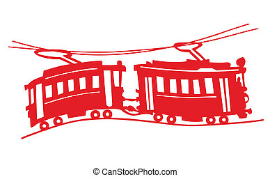 red tram on white background