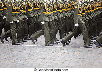 Unidentified officer soldiers march on rehearsal - MOSCOW -...