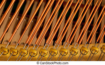 Piano strings in macro - Close up image of interior of grand...