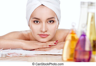 woman having relax in spa salon