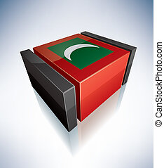 3D flag of Republic of Maldives