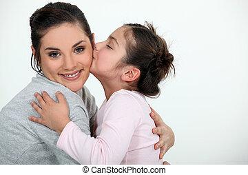 Daughter kissing her mum