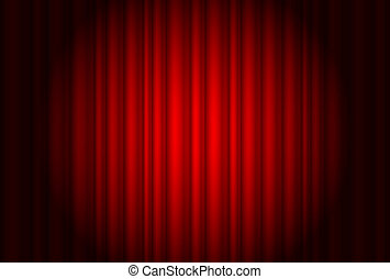 Curtain from the theatre with a spotlight Illustration of...